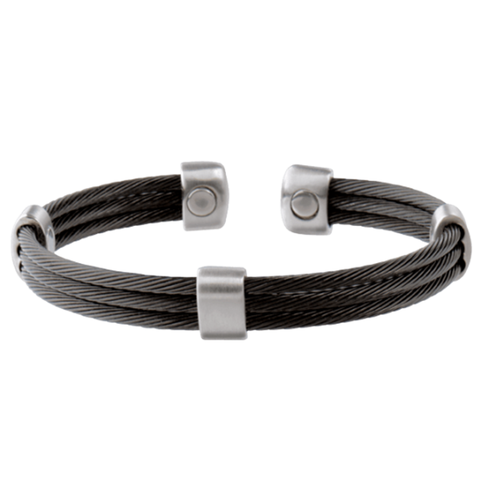 Picture of Sabona Trio Cable Black/Satin Stainless Magnetic Wristband